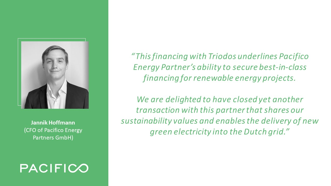 Pacifico and Triodos close €11.3 million senior financing for Dutch PV project